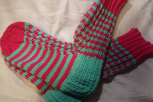 Streifensocken in Mint-Rosa Gr. 34 / 35