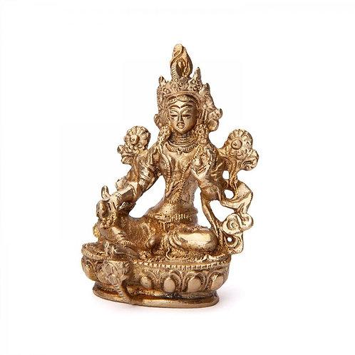 Grüne Tara Statue, Messing ca. 9 cm