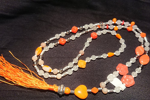 Orange Mala  für das Sakralchakra -  Gebetskette mit 108 P