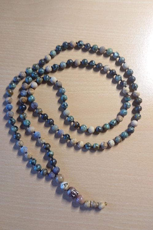 Schlichte Mala in Grün und Natur -  Gebetskette mit 108 Perlen
