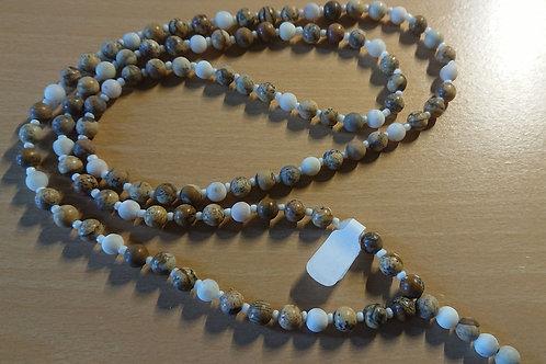 Mala in Braun Beige  -  Gebetskette mit 108 Perlen