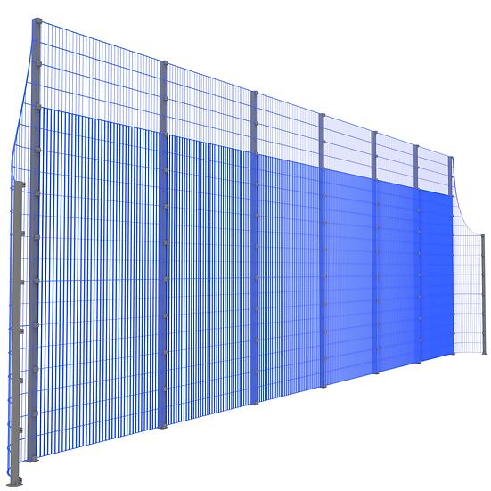 Фронтальная ударостойкая стенка ТРЕША™ с закруглёнными углами (L-13 м. H-5/3 м.)