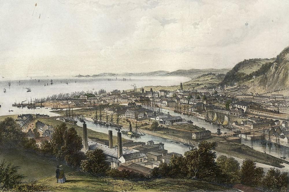 Golygfa o ddociau Abertawe, o fryn Cilfái, 1850