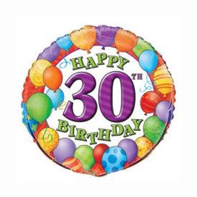 Balloon Foil 30Th Happy Birthday Helium