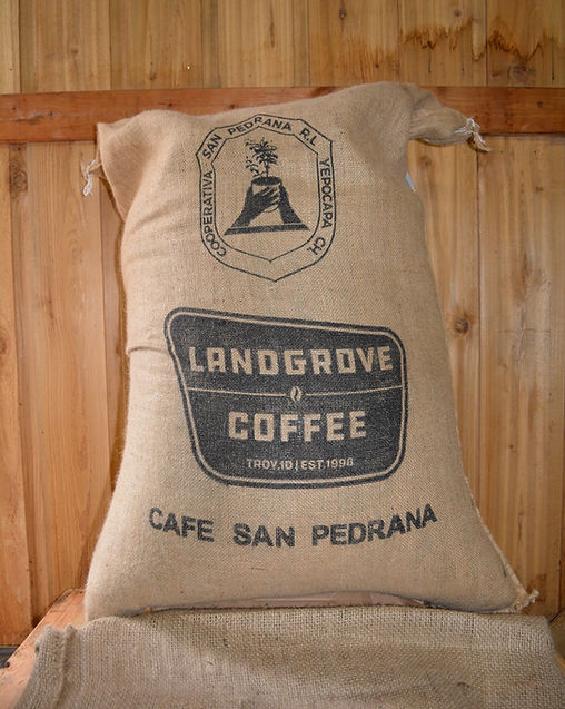 Cafe San Pedrana Direct Trade coffee, burlap sack, Landgrove Coffee