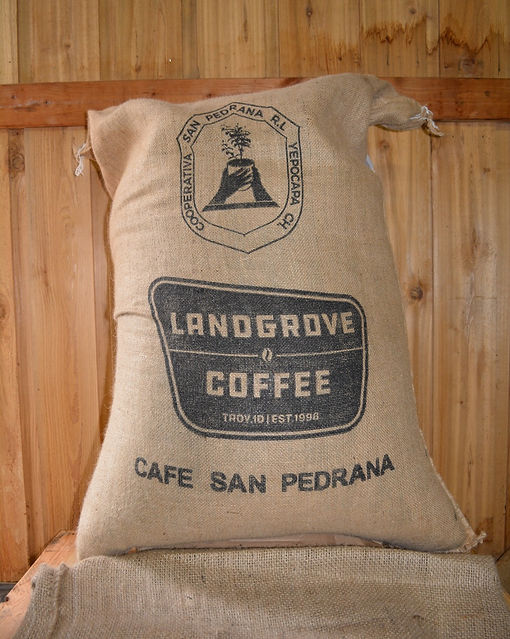 Cafe San Pedrana Direct Trade coffee, burlap sack, Landgrove Coffee