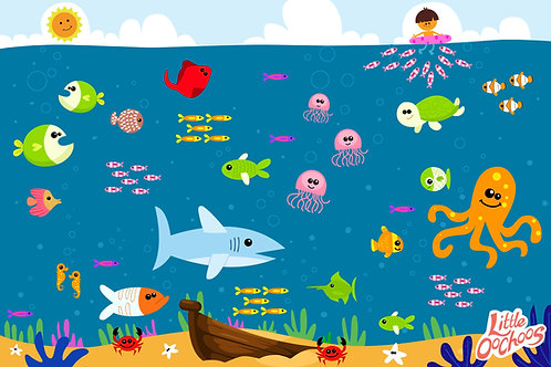 Little Oochoos Disposable Placemats 60 Count - Underwater Theme