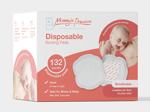 Mommy's Precious Disposable Cotton Nursing Pads 132 Packs for Pregnant lactating