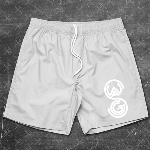 Swagg Embroidered Beach Shorts (White on White)