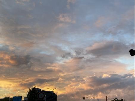 夕陽につられて