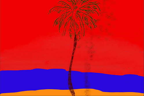 "Palm Tree Red - 18"" x 24"""