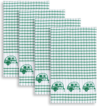 Cackleberry Home Retro Camper Windowpane Check Cotton Terrycloth Kitchen Towels, Set of 4