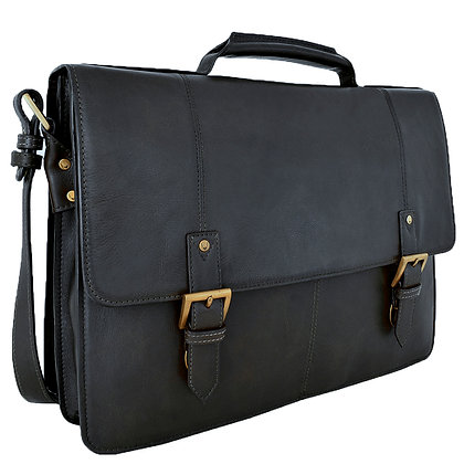 "Hidesign Charles Double Gusset Leather 17"" Laptop Briefcase Work Bag"