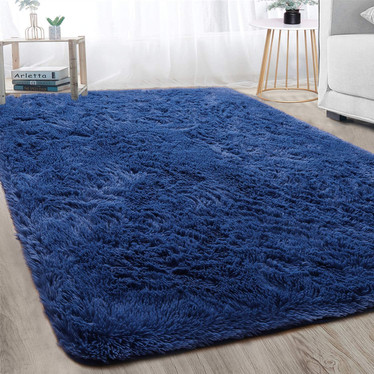 Soft Fluff Shaggy Navy Blue Rugpg