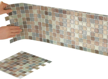 Collections Etc Multi-Colored Adhesive Mosaic Backsplash Tiles for Kitchen and Bathroom - Set of 6, Brown Multi