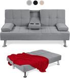 Modern FModern Linen Convertible Futon Sofa Bed w/Removable Armrests, Metal Legs, 2 Cupholders - Grayuton Sofa.jpg