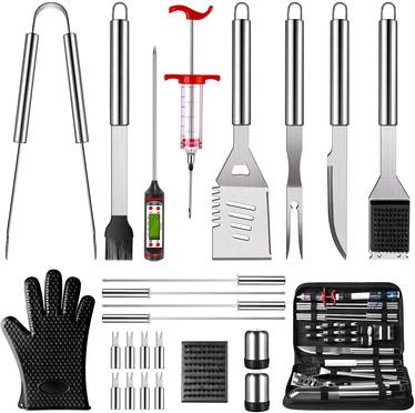 OlarHike BBQ Grilling Accessories Grill Tools Set, 25PCS Stainless Steel Grilling Kit