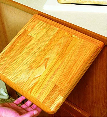 """Camco Oak Accents RV Counter Top Extension - Securely Mounts to Your Existing Counter Top With a Metal Piano Hinge for Additional 12"""" of Counter Space"""
