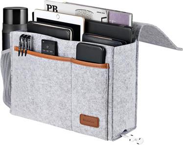 Bedside Caddy, Felt Bed Storage Organizer Hanging Bag Holder with 5 Pockets