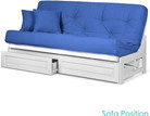 Nirvana Futons Arden White Futon Frame with Storage Drawers Full or Queen Size - Solid Hardwood Armless Sofa Bed Frame Construction, Space Saving Design Ideal for RV