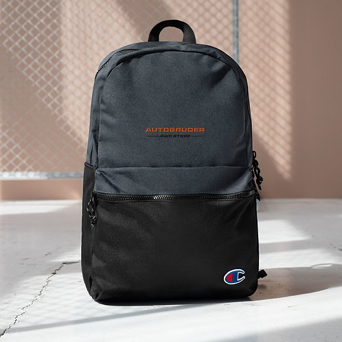 AUTOBRUDER Embroidered Champion Backpack Black and Gray