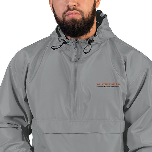 AUTOBRUDER Camping Embroidered Champion Packable Jacket Gray