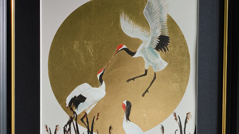 24ct Gold Crane Giclée Fine Art Print - LimitedEdition