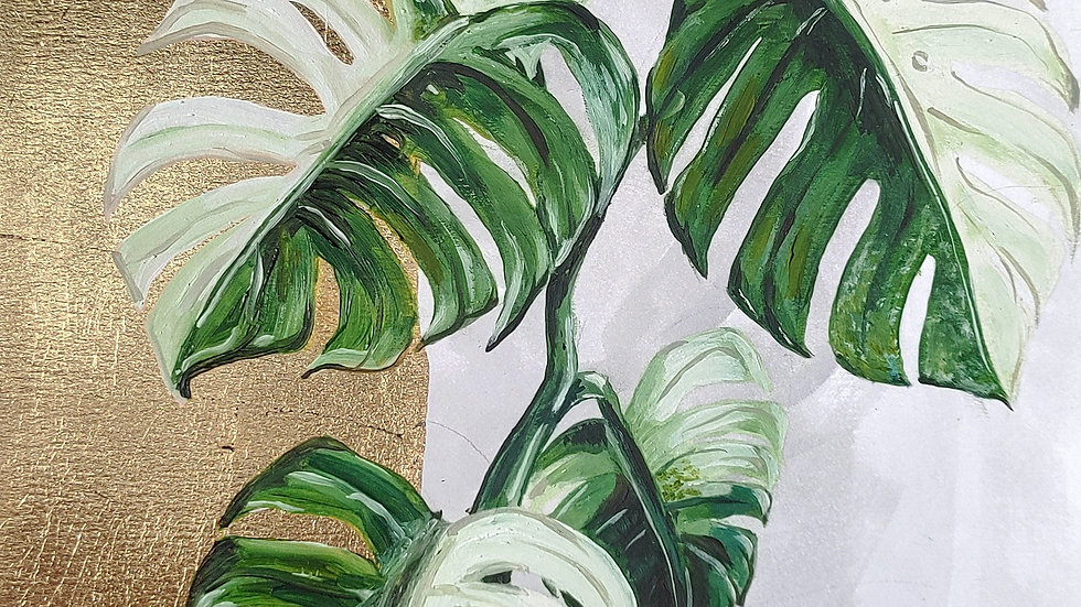 Variegated Monstera Hand Gilded Print