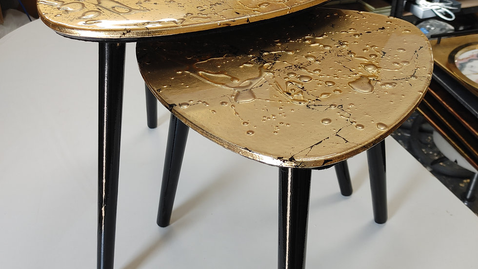 Gold Drip Side Table Pair
