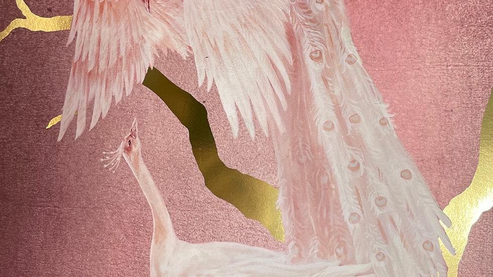 White Peacock Foiled Art Print