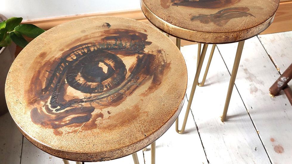 Acid Painted Table Pair