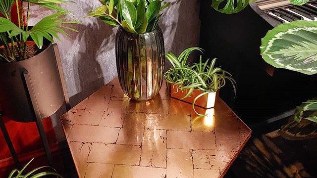 Hexagon Herringbone Copper Table