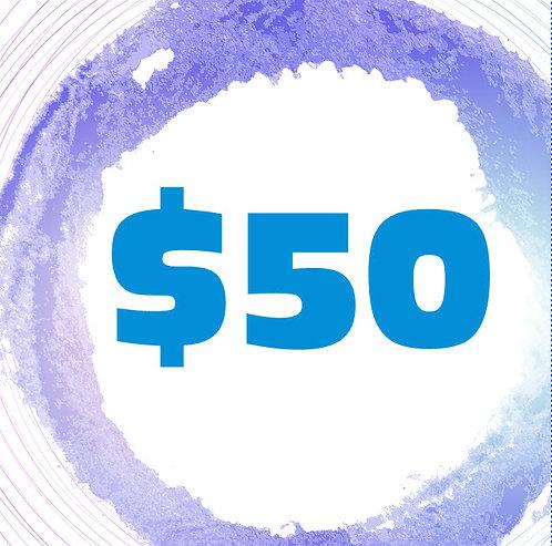 $50 Art Class Gift Certificate