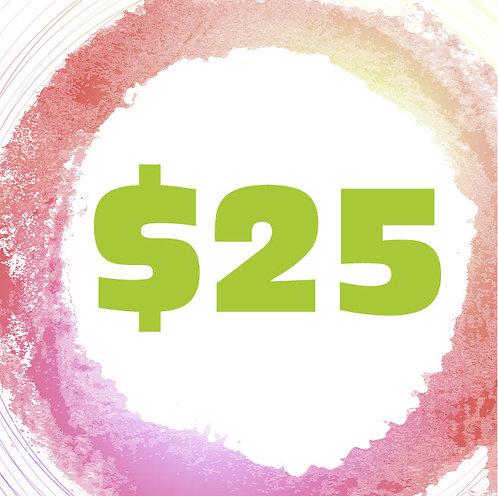 $25 Art Class Gift Certificate