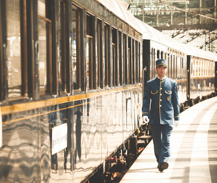 Orient Express train ready to depart at the station