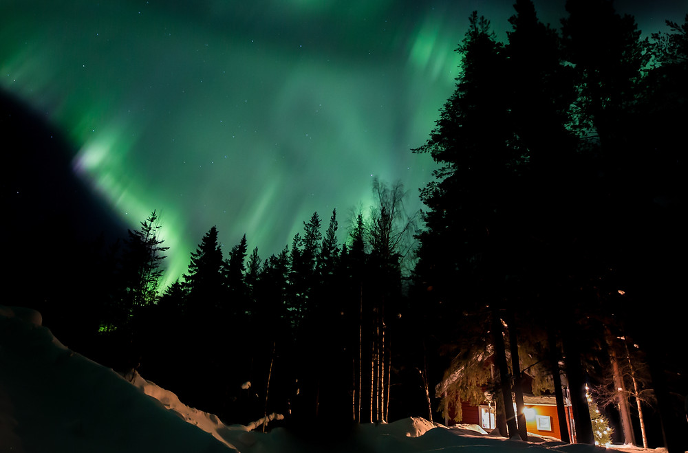 The Northern lights over the Logger's Lodge