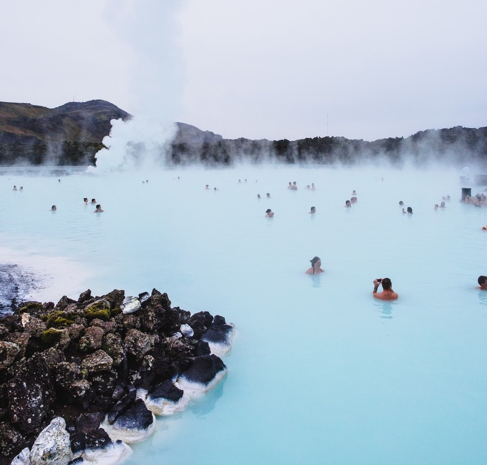 People bathing in The Blue Lagoon Iceland