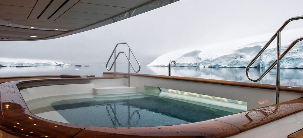 On deck jacuzzi on the yacht