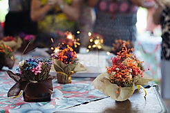 table top decorated with flowers