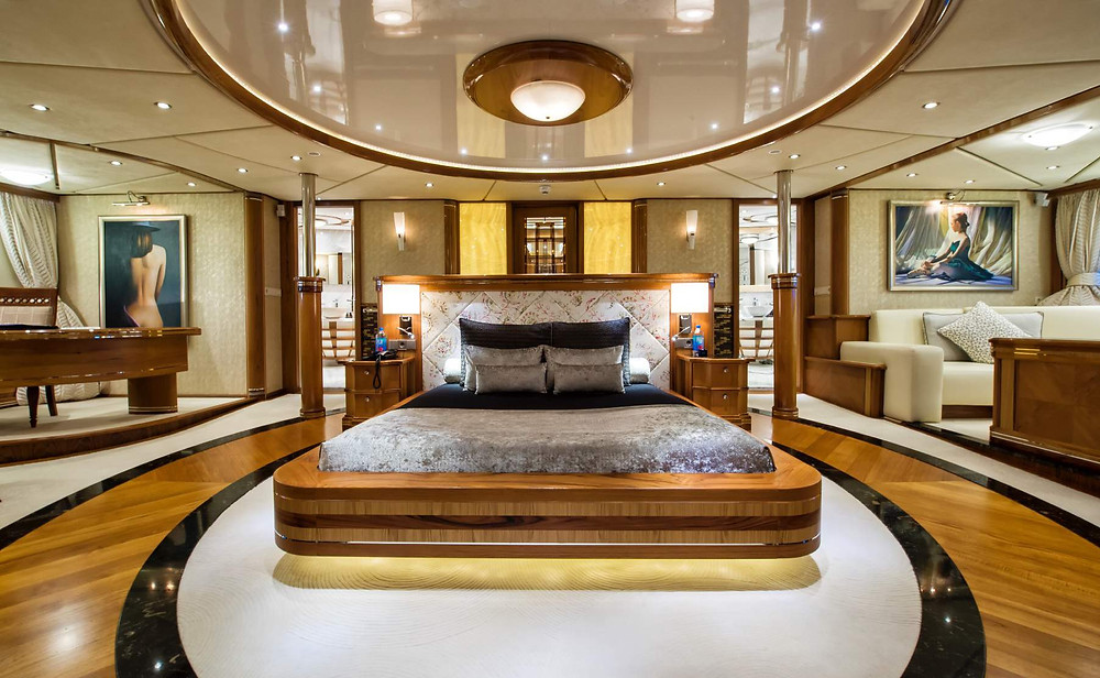 Bedroom on board the yacht