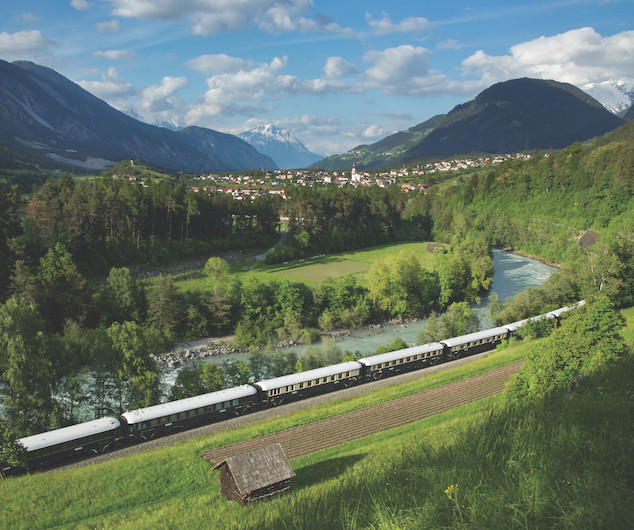 Orient express train travelling though Europe