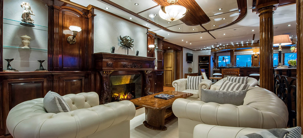 Lounge interior on the yacht