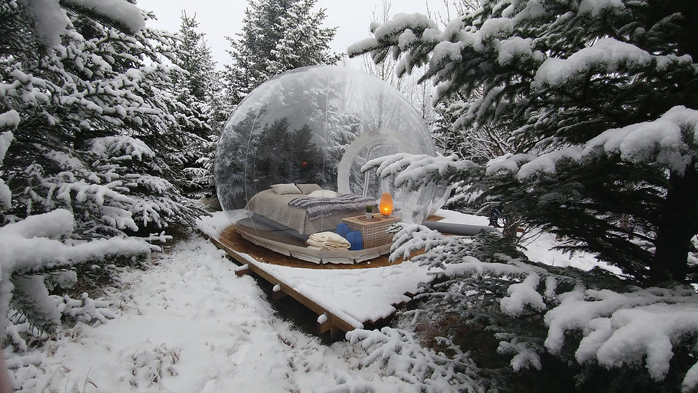 Buubble hotel room in Iceland