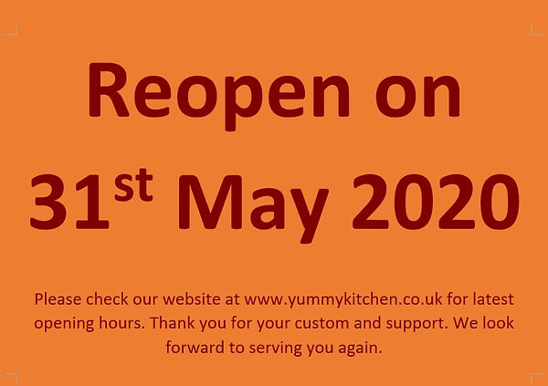 Yummy Business Hours 2020 (Shop Front -