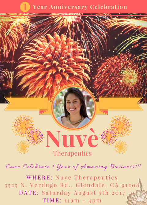 Nuvè Therapeutics is Celebrating 1 year! Please join us for an open house Saturday August 5th 11am-4
