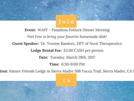 Weston A. Price Foundation Pasadena Potluck Dinner Meeting - Guest Speaker Dr. Yvonne Ramirez, DPT