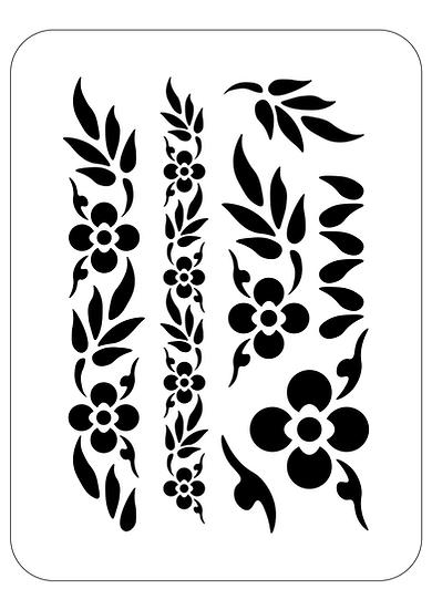 Sablon decorativ A4 Flowery Bands (1284)