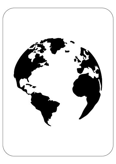 Sablon 3D Globe 75x75cm (6132)