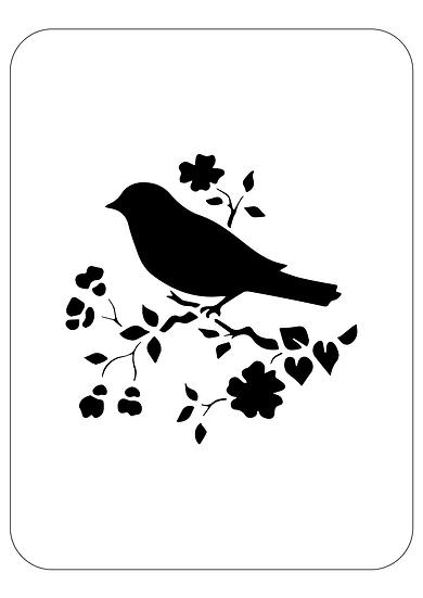 Sablon decorativ Cherry bird A4  (1274)