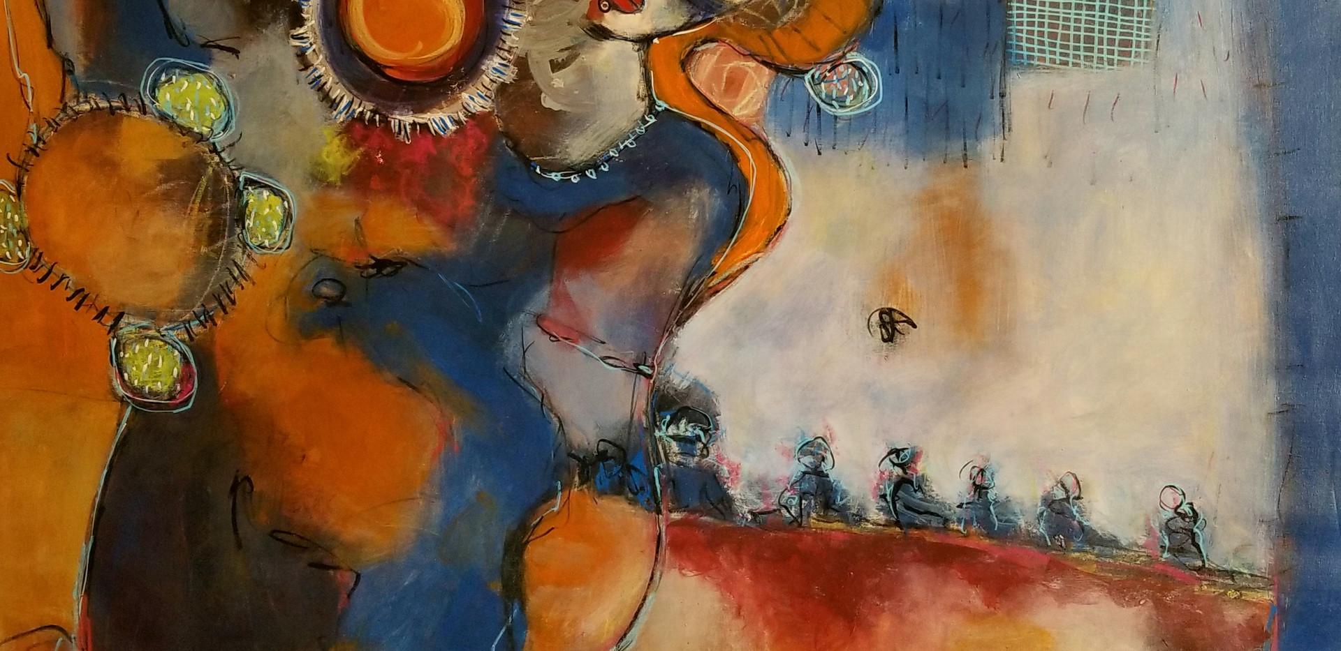 Amour fusionnel- 150x120 Acrylique. Mixt